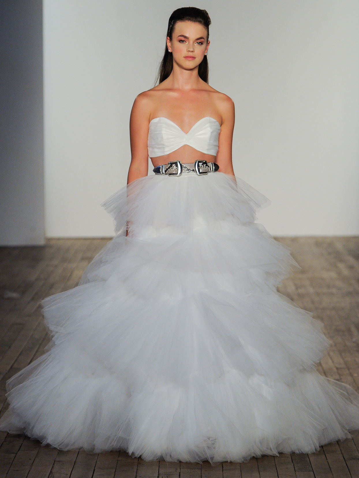 Hayley Paige ruched sweetheart bandeau tulle two piece wedding dress fall 2020