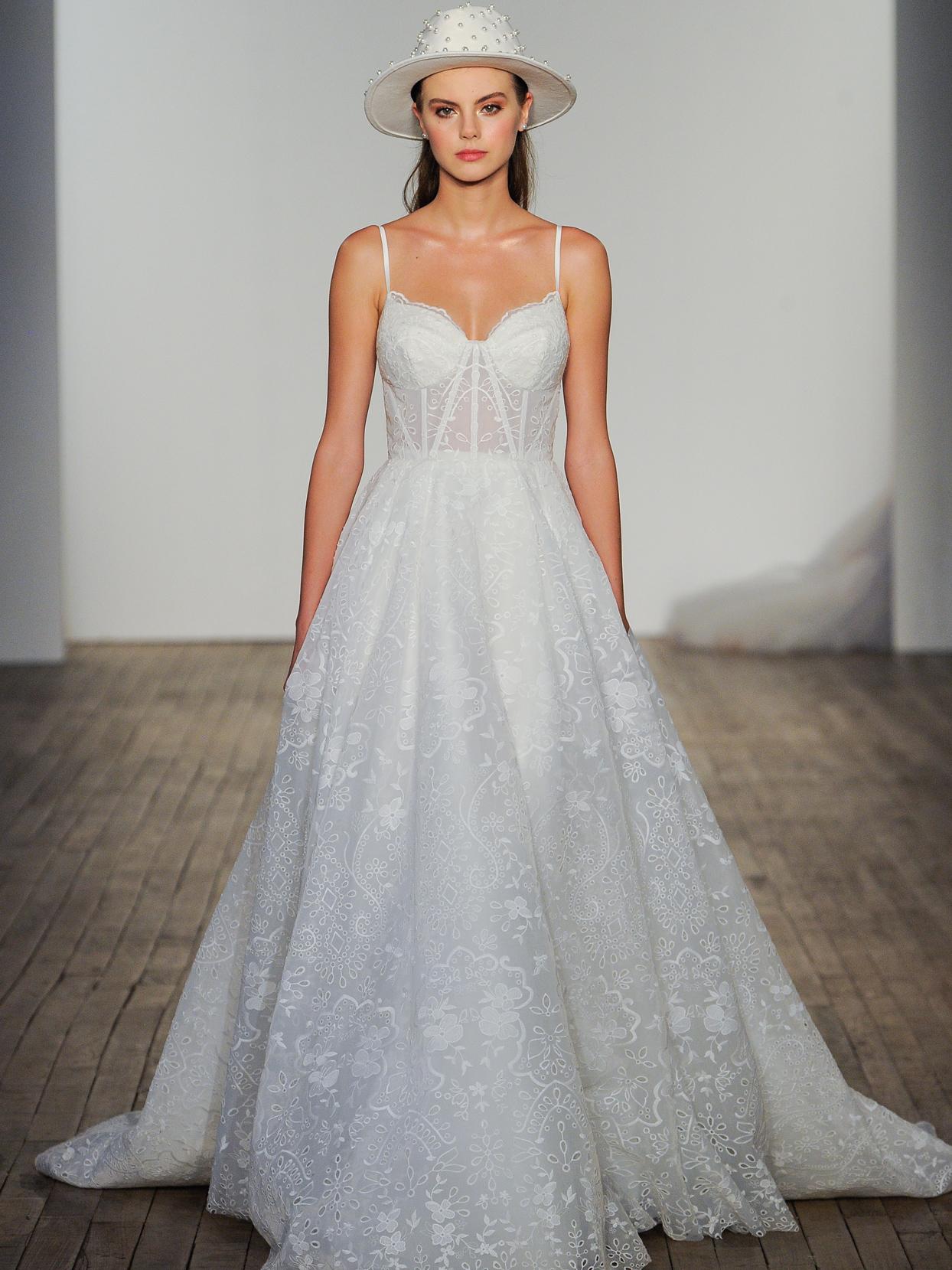 Hayley Paige spaghetti strap sheer corset A-line wedding dress fall 2020