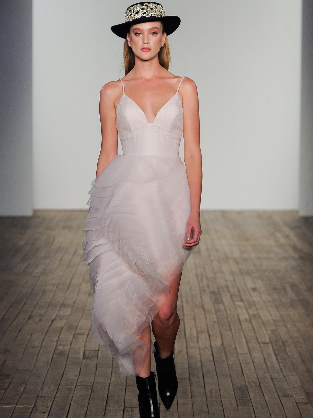Hayley Paige spaghetti strap pink side high-low wedding dress fall 2020