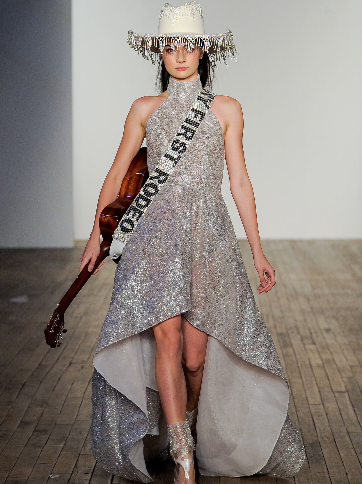 Hayley Paige high-neck high-low rhinestone wedding dress fall 2020
