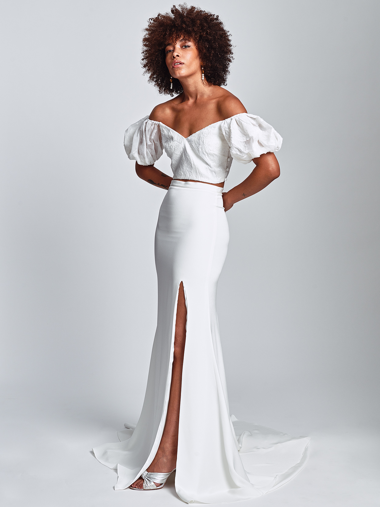 Alexandra Grecco off-the-shoulder bishop sleeved separates wedding dress fall 2020
