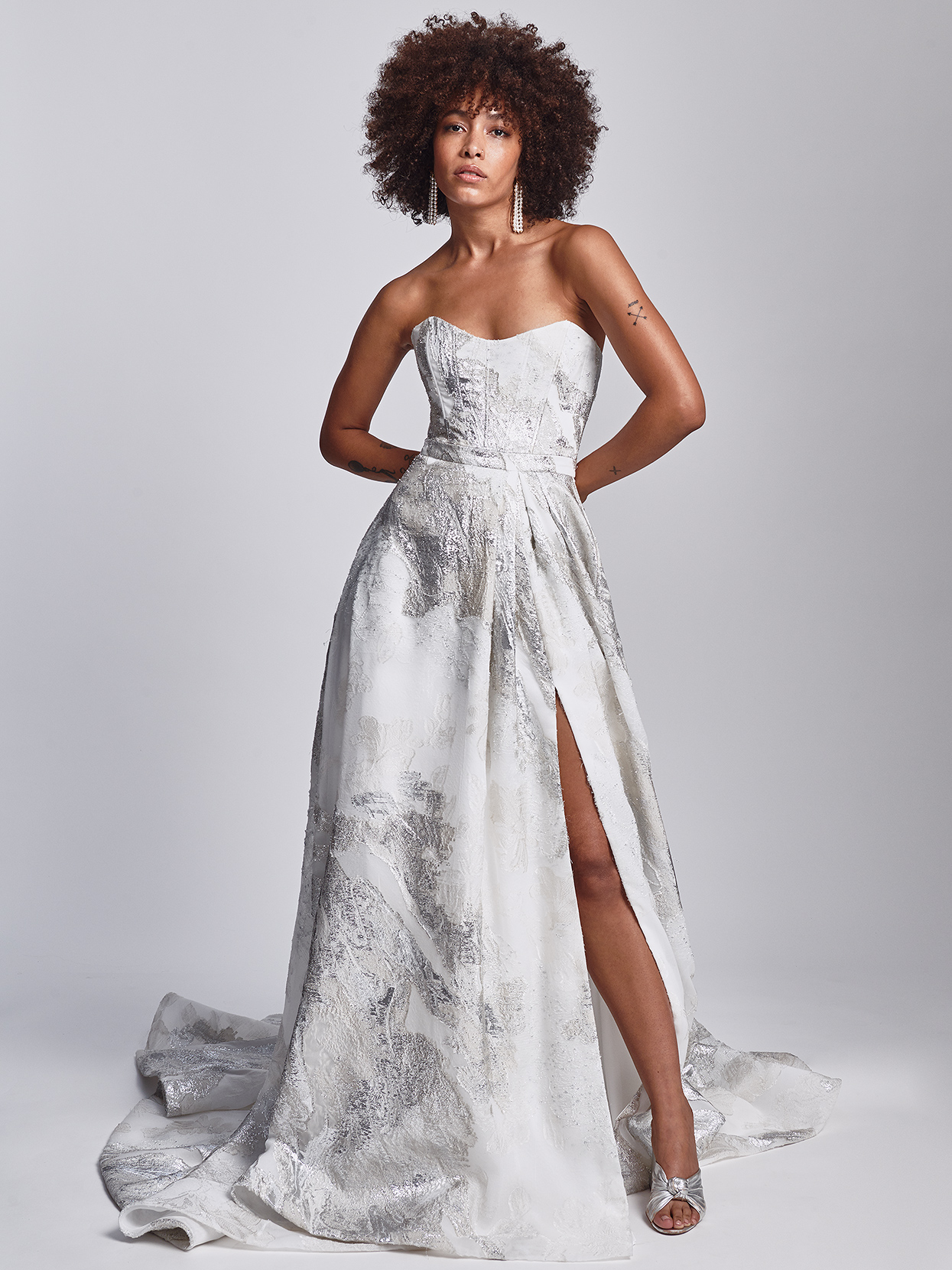 Alexandra Grecco strapless a-line with metallic detail wedding dress fall 2020