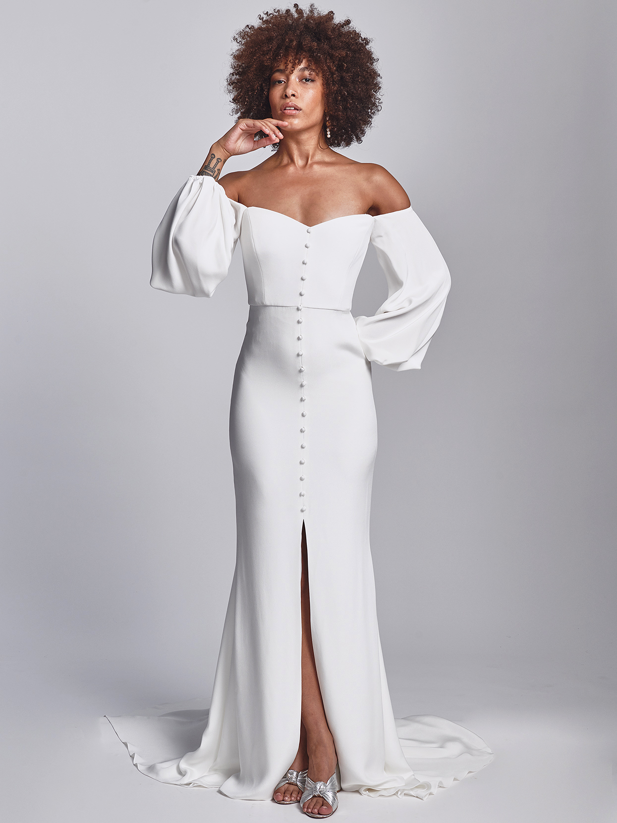 Alexandra Grecco off-the-shoulder bishop sleeves with buttons wedding dress fall 2020