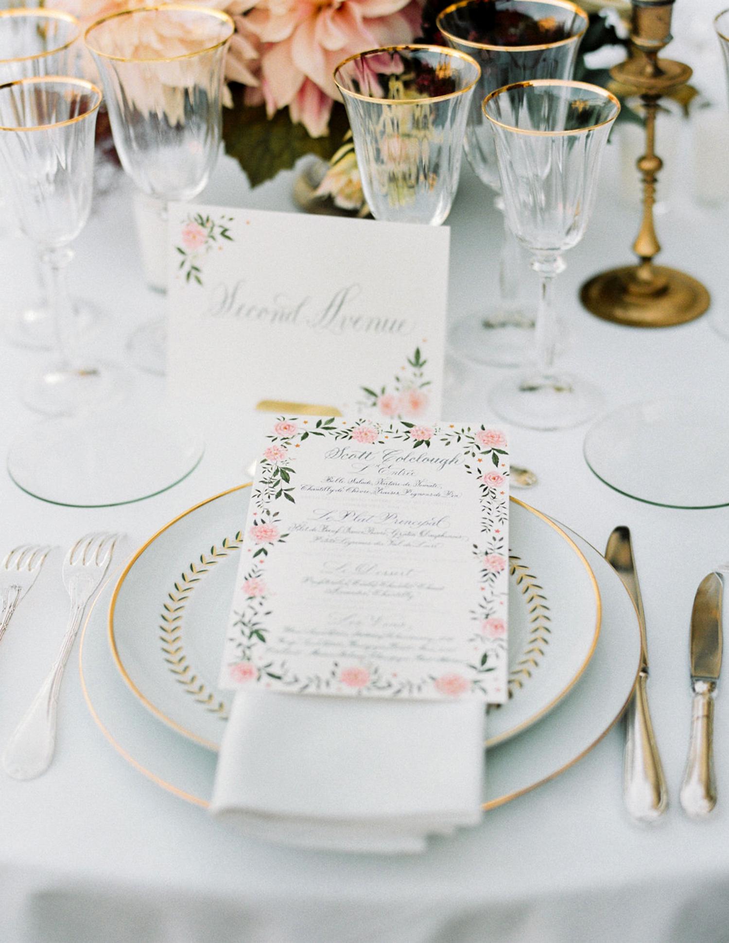 close-up wedding menu on place settings