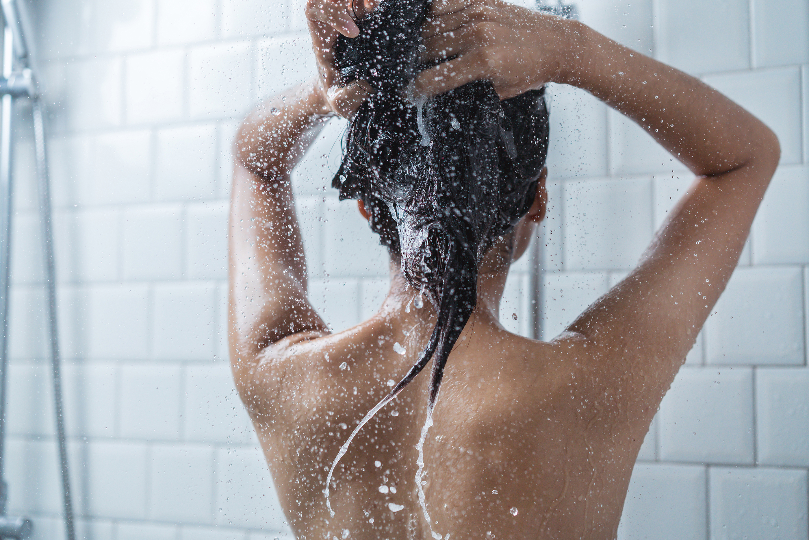 Woman Washing Hair, Body in the SHower
