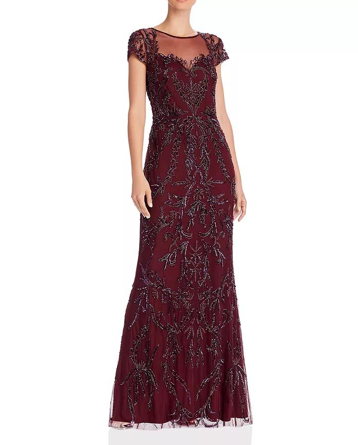 Adrianna Papell Cap Sleeve Beaded Bridesmaid Dress in Burgundy