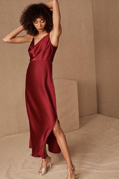 BHLDN Kari Silk Bridesmaid Dress in Burgundy