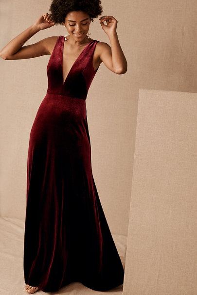 "Jenny Yoo ""Logan"" Velvet Bridesmaids Dress in Burgundy"