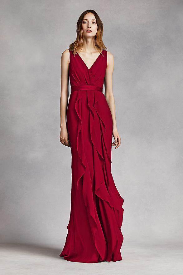 V-Neck Wrapped Bodice Dress With Satin Belt