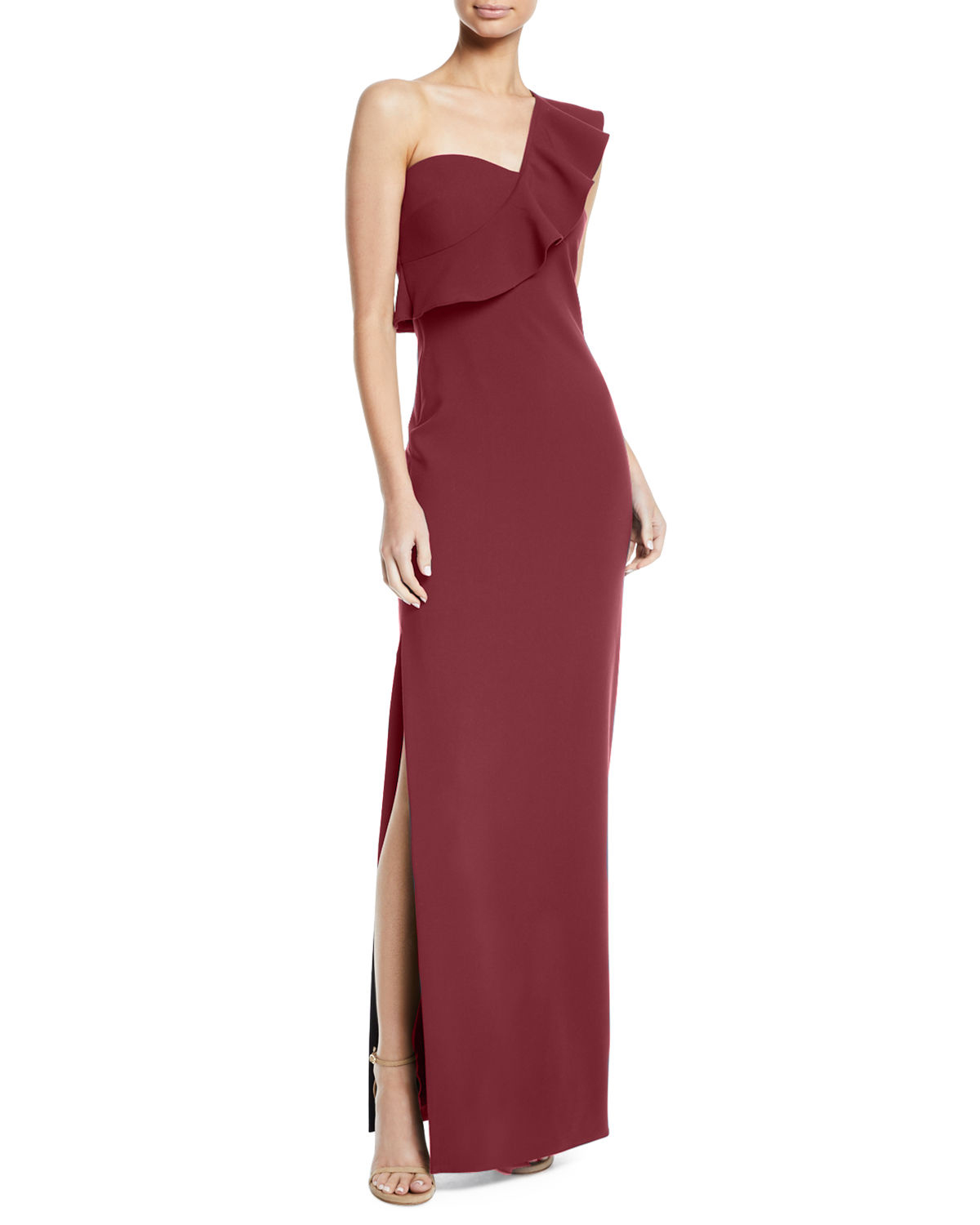 """Likely """"Halsey"""" Ruffle One-Shoulder Gown"""