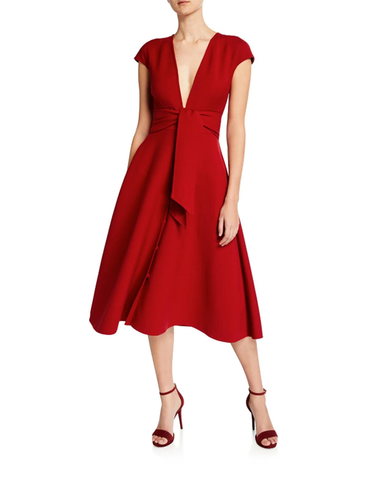 Oscar De La Renta V-Neck Short-Sleeved Dress