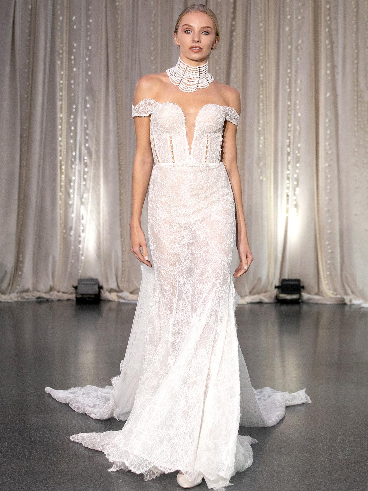 Lee Petra Grebenau off-the-shoulder lace plunging neck wedding dress fall 2020