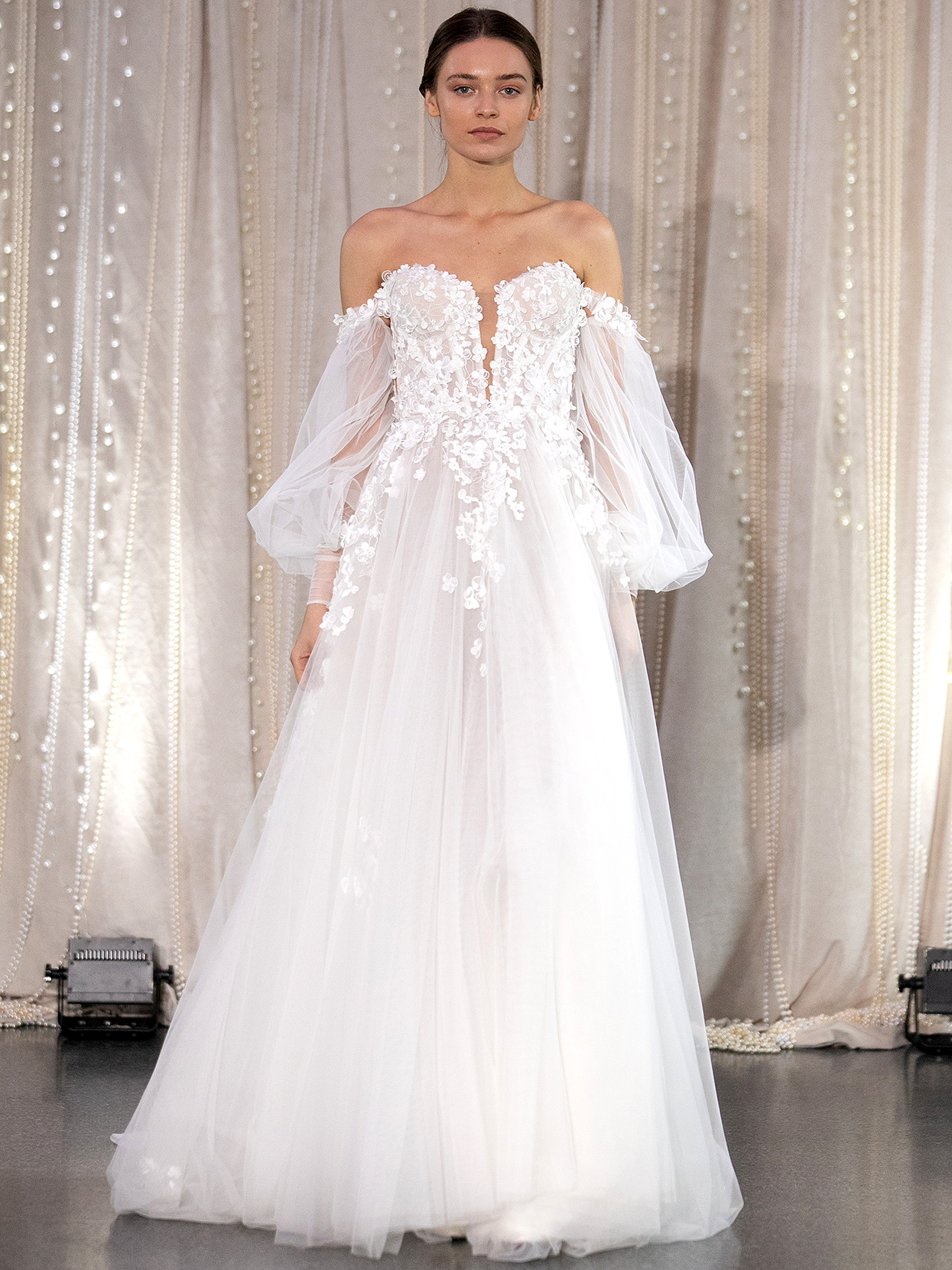 Lee Petra Grebenau sweetheart embellished bishop sleeves wedding dress fall 2020
