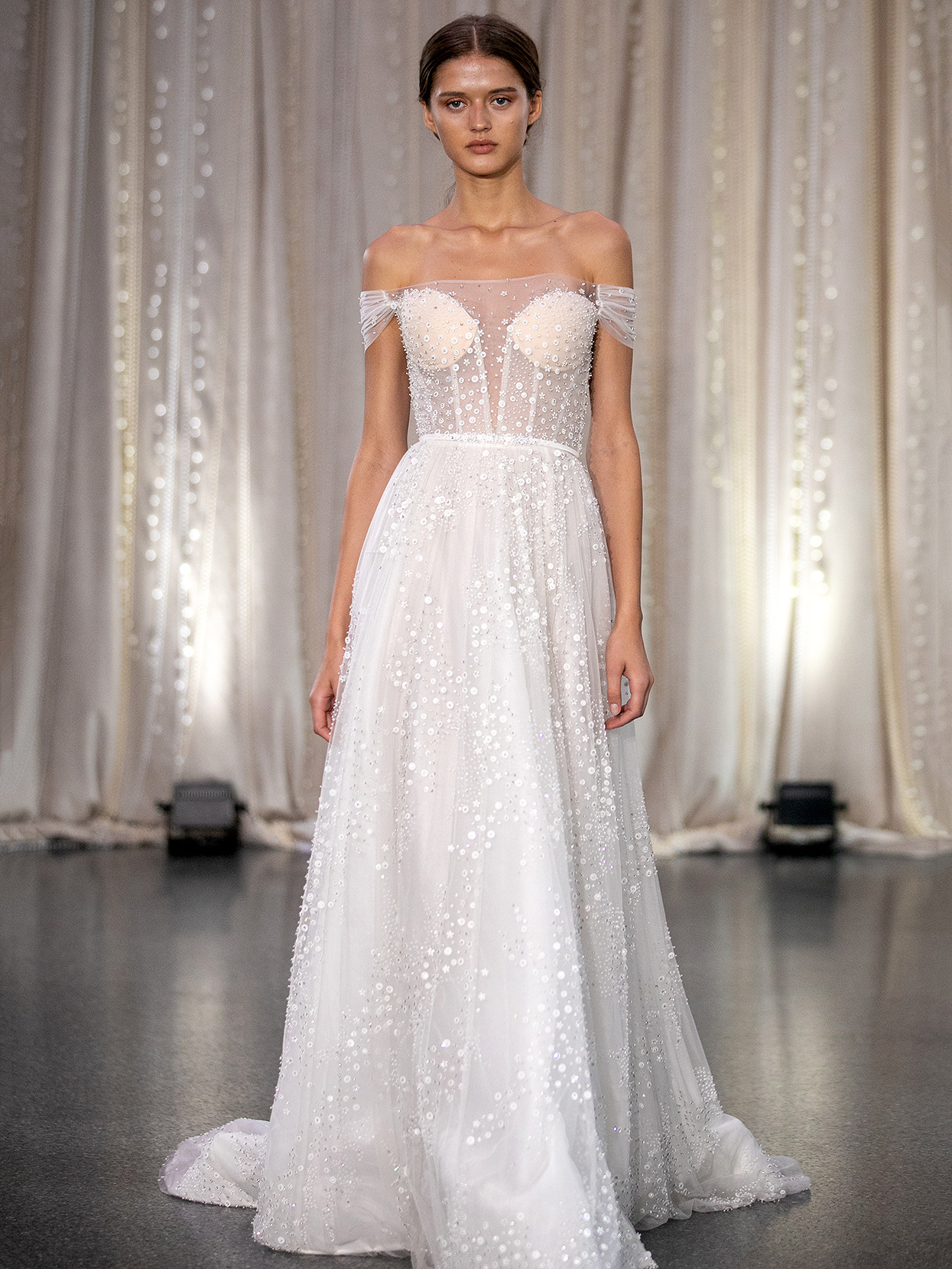 Lee Petra Grebenau off-the-shoulder sheer bodice wedding dress fall 2020