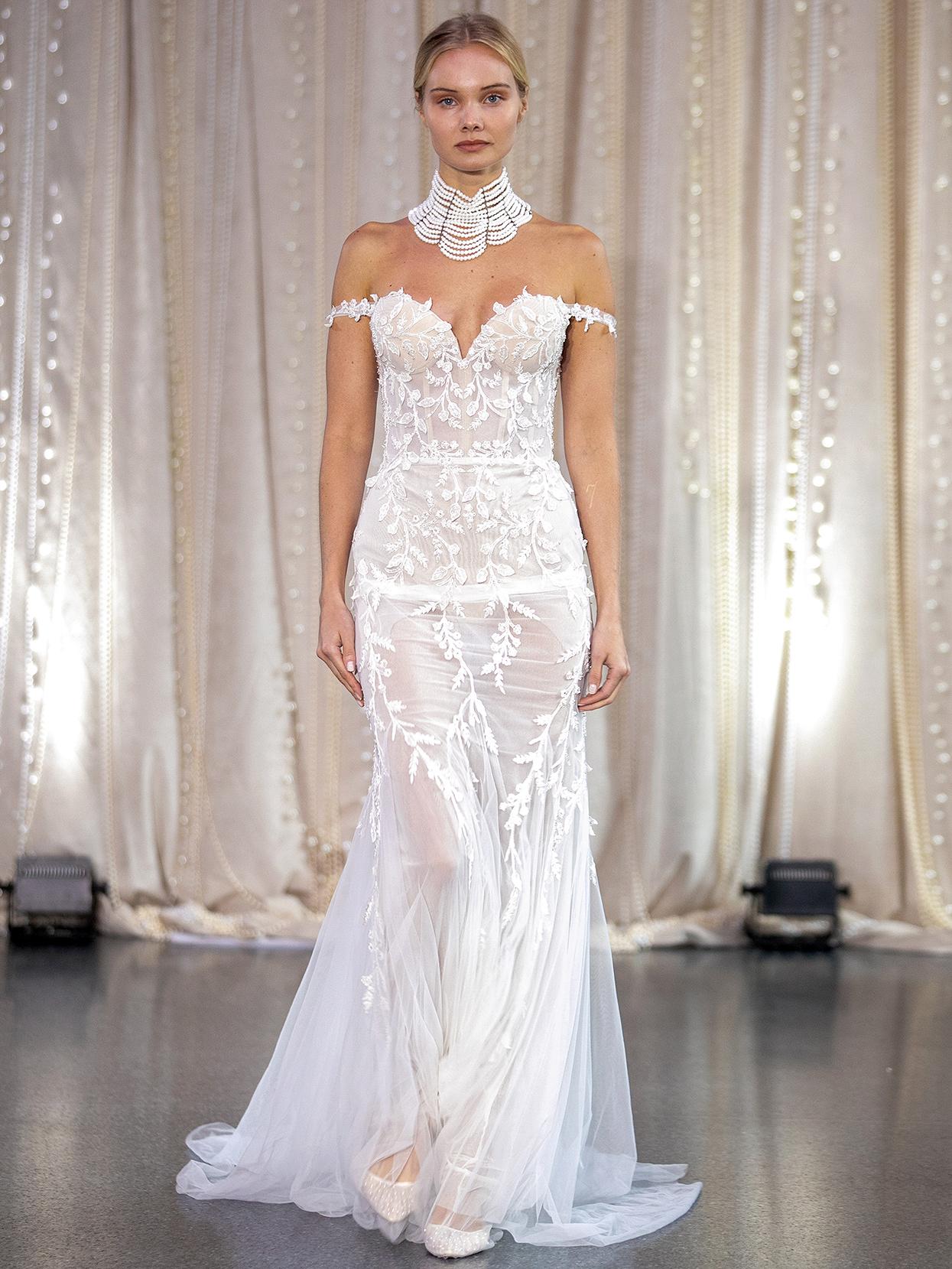 Lee Petra Grebenau off-the-shoulder embroidered trumpet wedding dress fall 2020