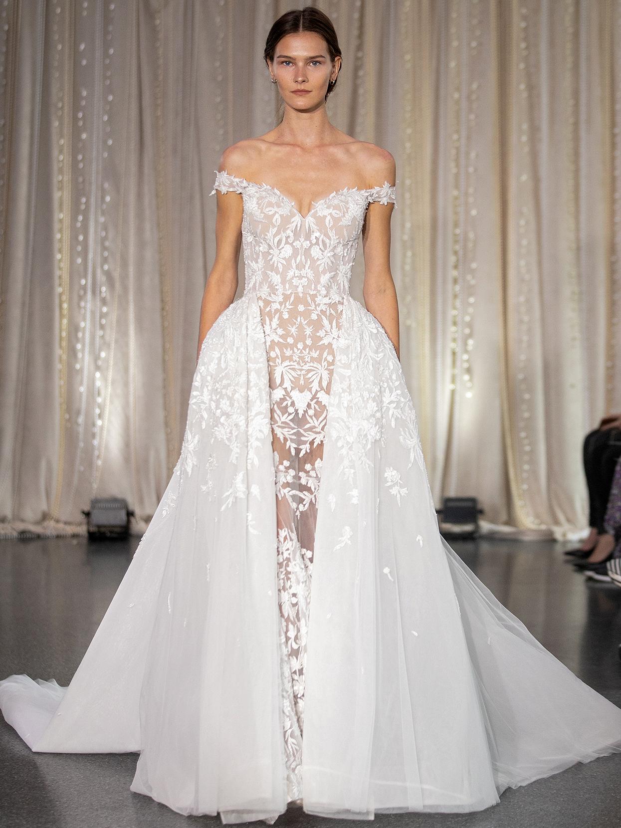 Lee Petra Grebenau off-the-shoulder embroidered paneled wedding dress fall 2020