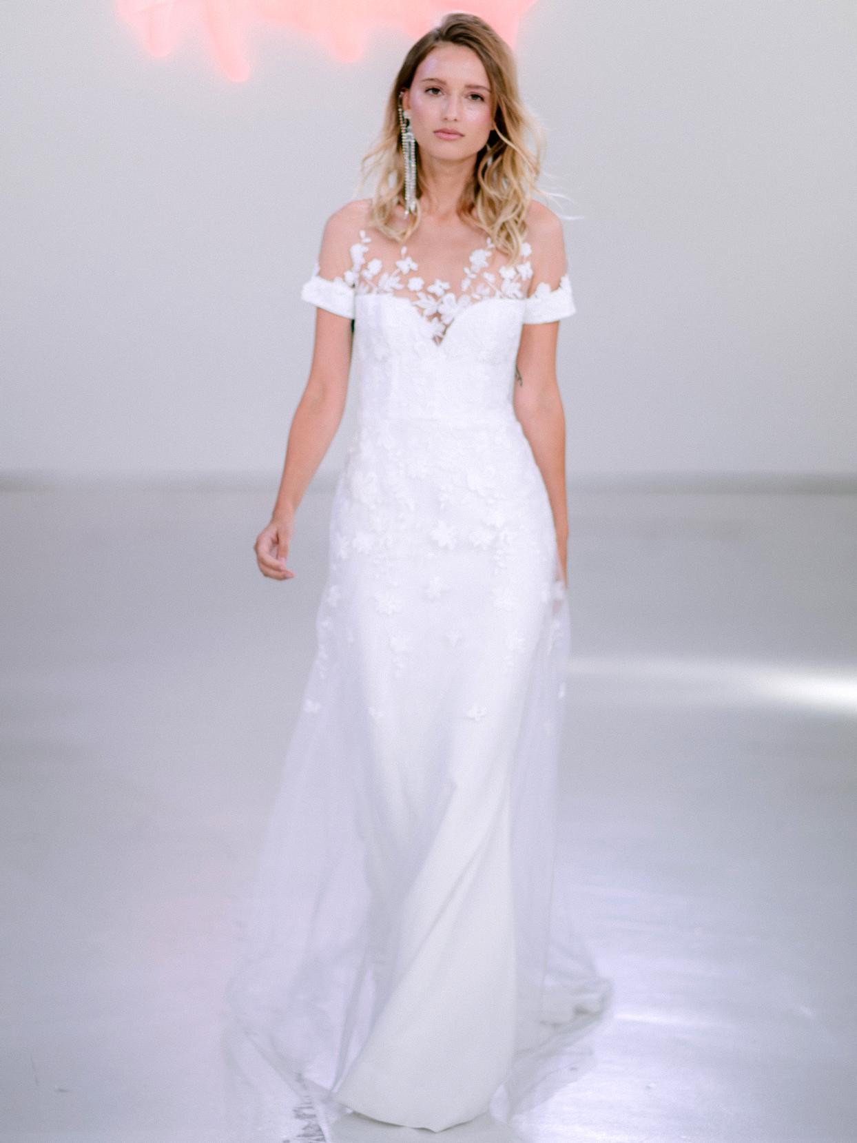 Rime Arodaky X The Mews Bridal illusion lace high neck short sleeve wedding dress fall 2020