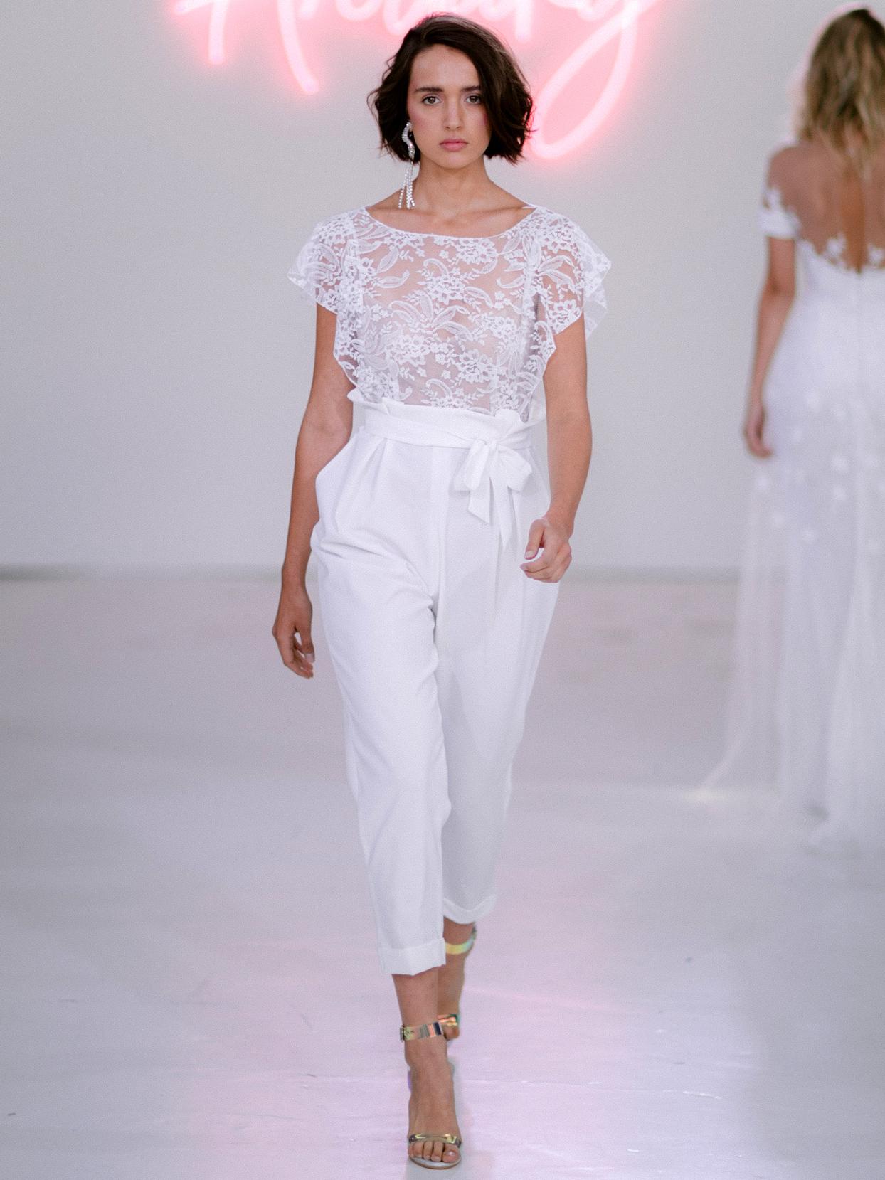 Rime Arodaky X The Mews Bridal sheer lace flutter sleeve bow belt jumpsuit wedding dress fall 2020
