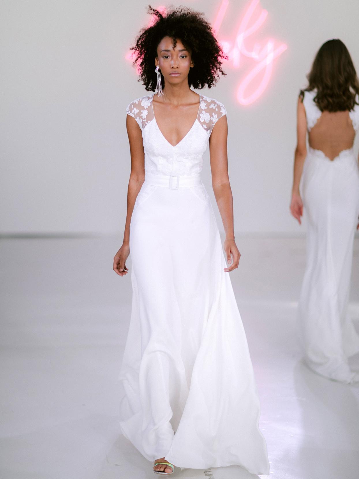 Rime Arodaky X The Mews Bridal lace cap sleeve v-neck belted wedding dress fall 2020