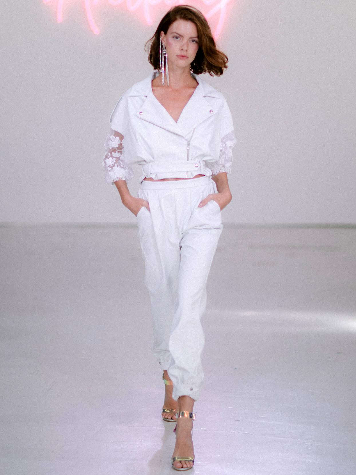Rime Arodaky X The Mews Bridal two piece zip jacket and pants wedding dress fall 2020
