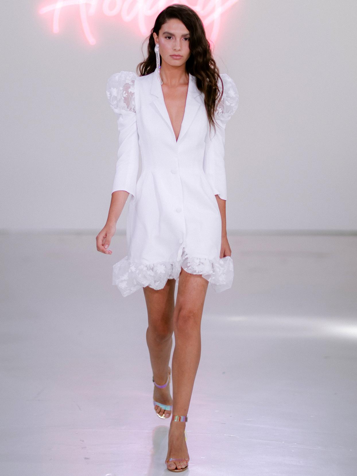 Rime Arodaky X The Mews Bridal button up mini three-quarter sleeves wedding dress fall 2020