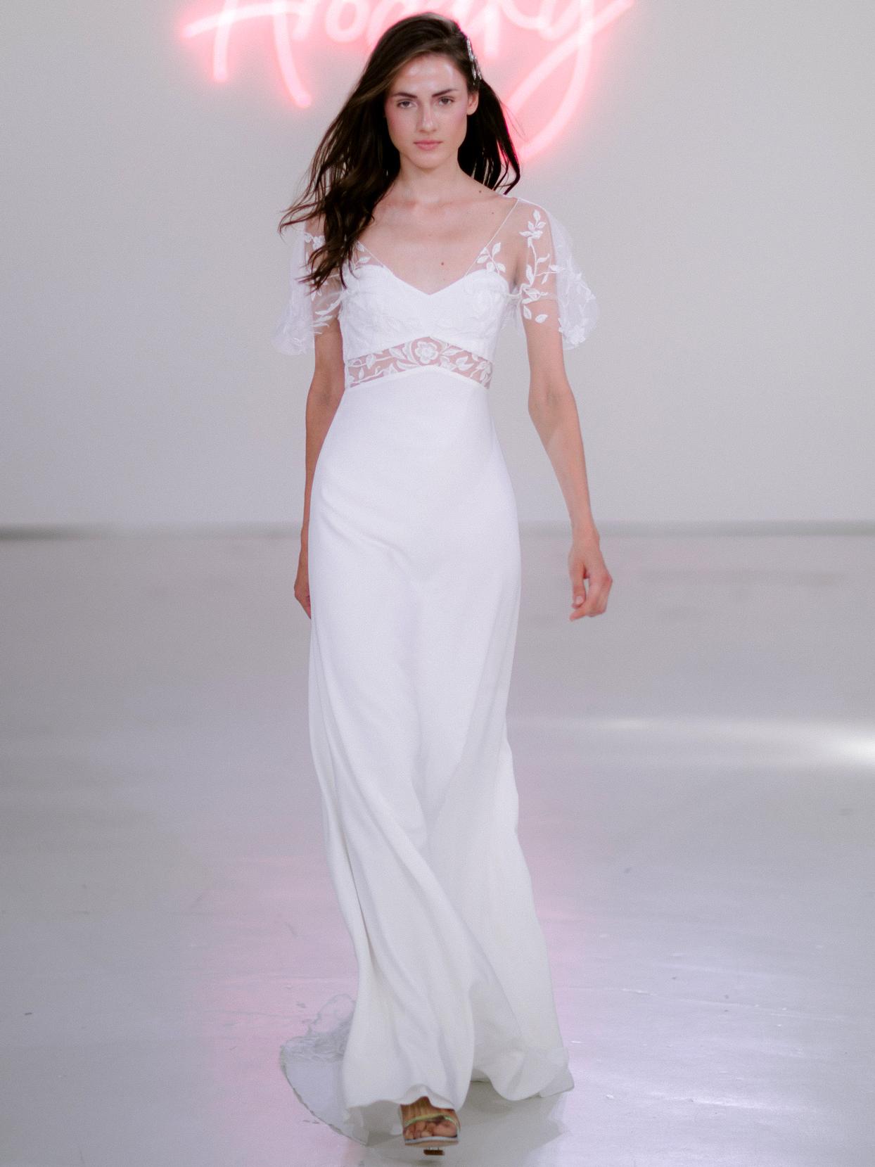 Rime Arodaky X The Mews Bridal semi-sweetheart lace flutter sleeve wedding dress fall 2020