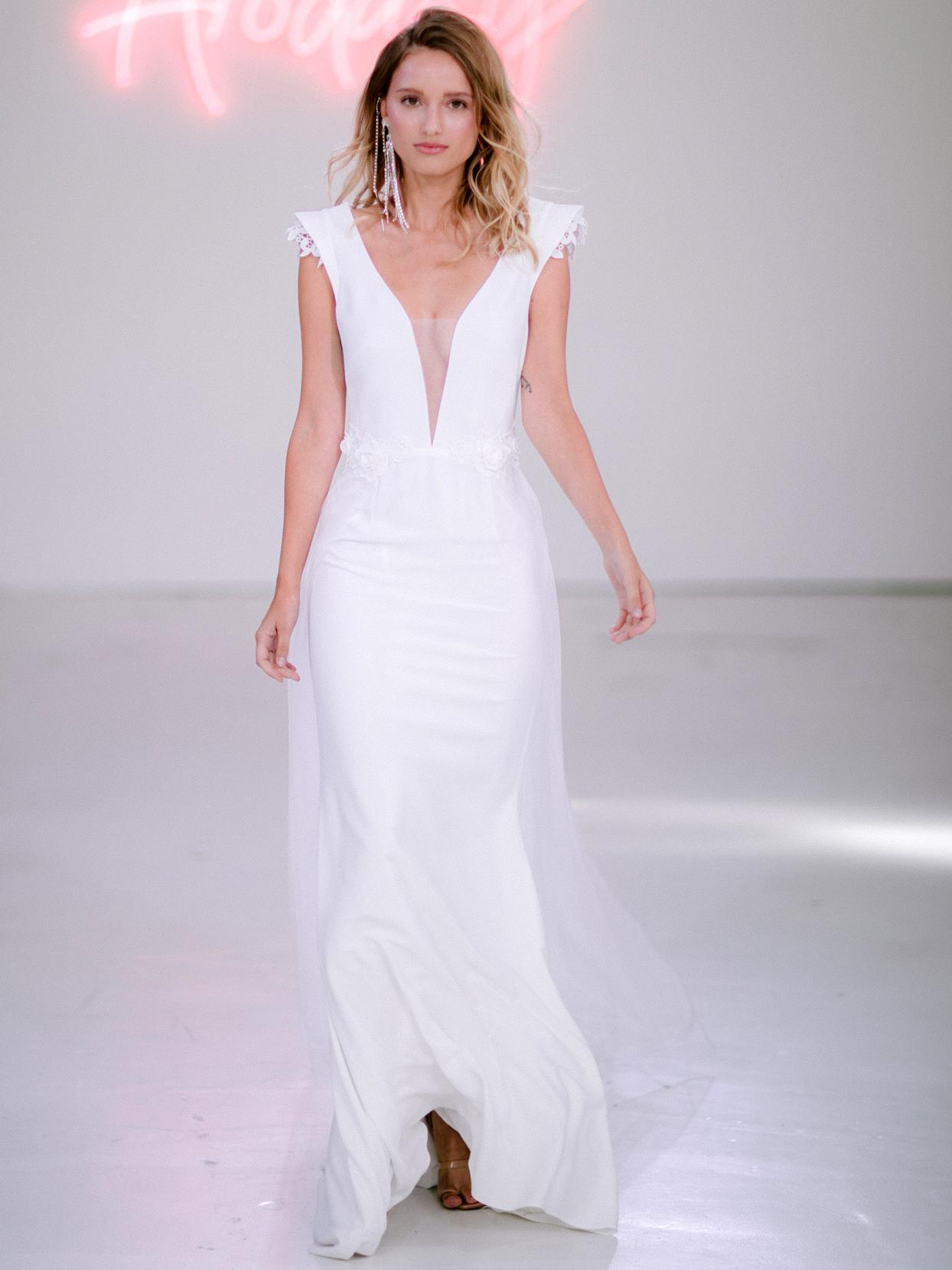Rime Arodaky X The Mews Bridal cap sleeve plunging v-neck wedding dress fall 2020
