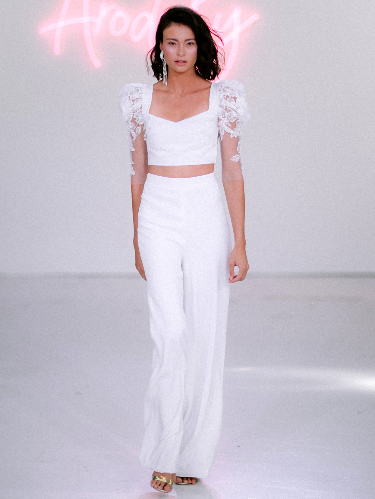 Rime Arodaky X The Mews Bridal two piece square neckline pants wedding dress fall 2020