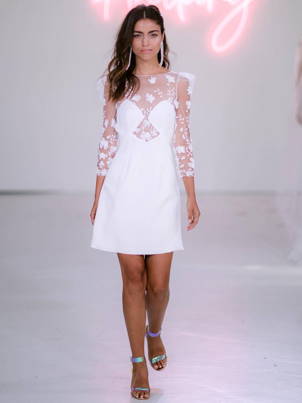 Rime Arodaky X The Mews Bridal three-quarter sheet lace sleeves mini wedding dress fall 2020