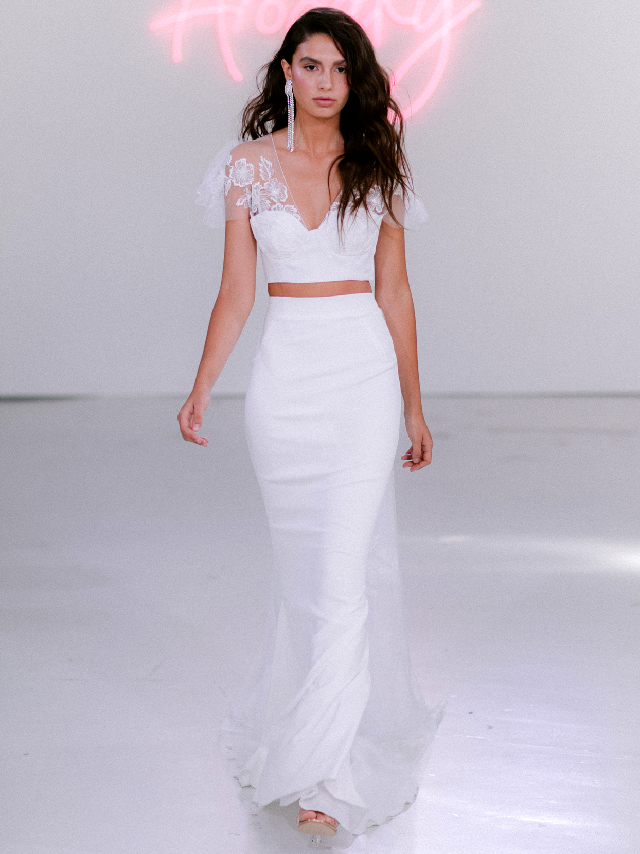 Rime Arodaky X The Mews Bridal two piece lace fluter sleeves wedding dress fall 2020