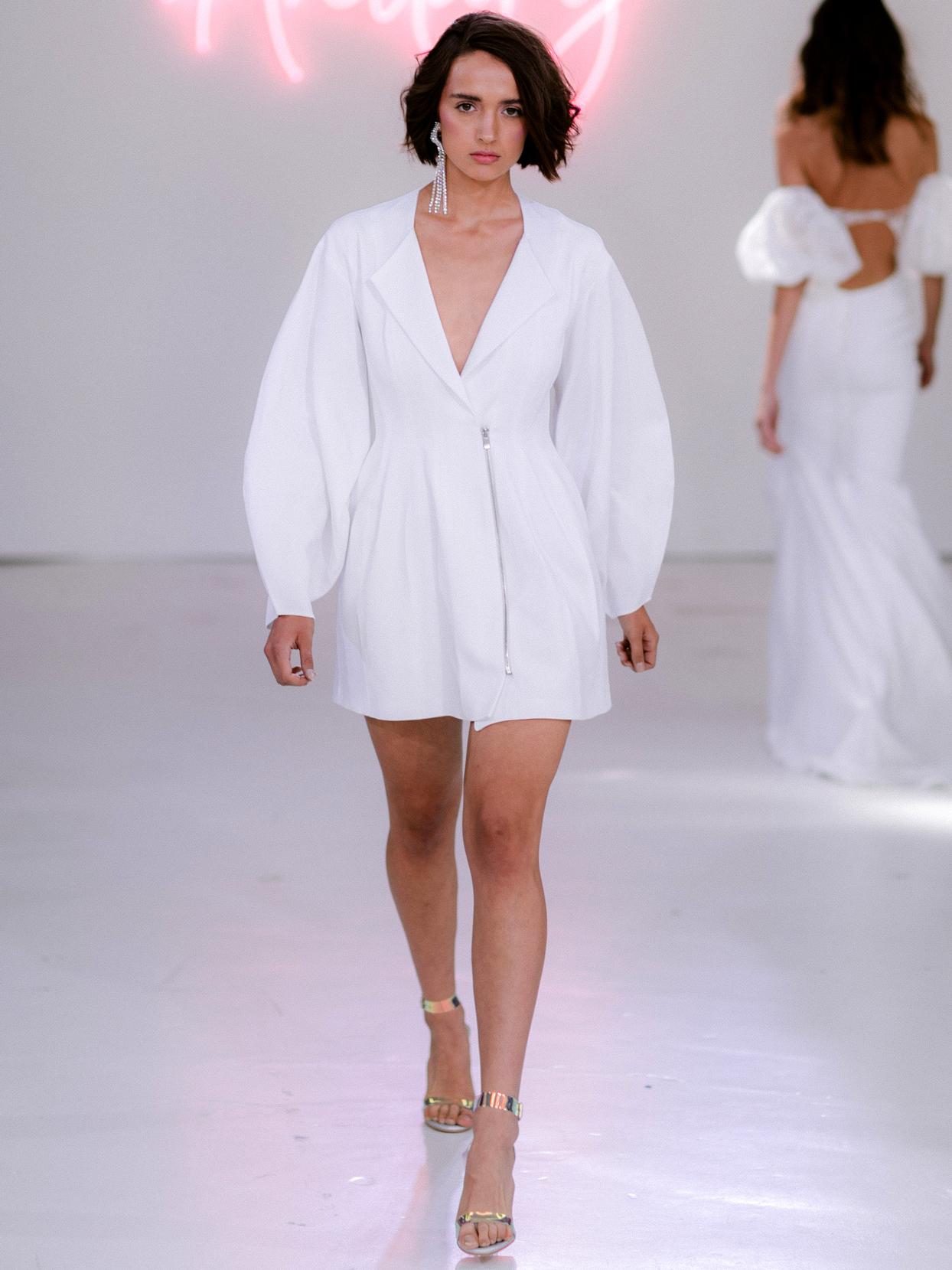 Rime Arodaky X The Mews Bridal long sleeve v-neck mini wedding dress fall 2020
