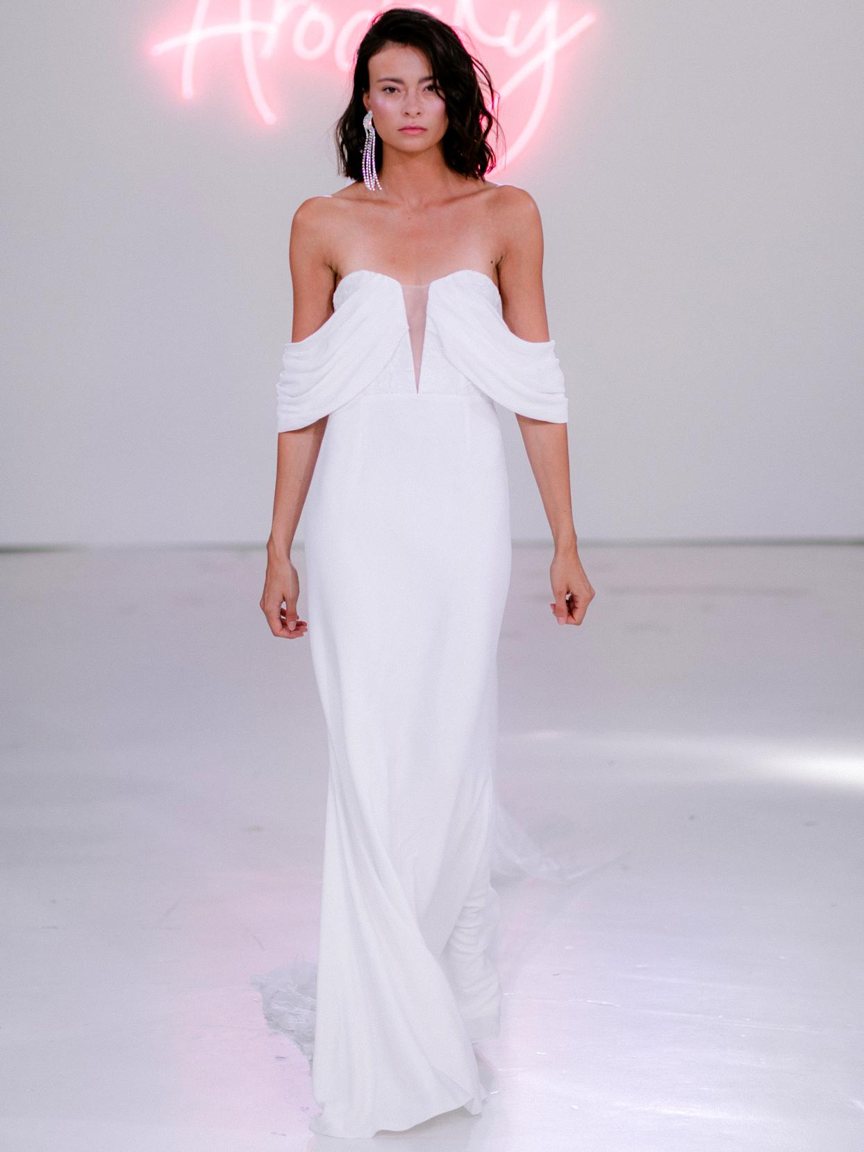 Rime Arodaky X The Mews Bridal off-the-shoulder a-line wedding dress fall 2020