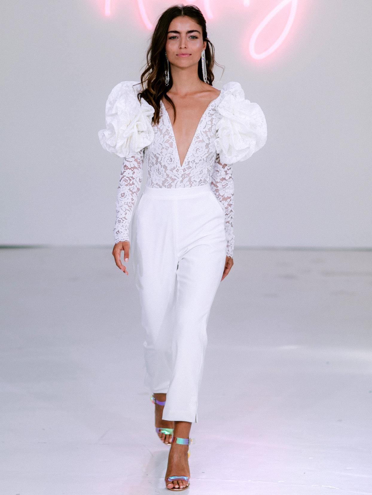 Rime Arodaky X The Mews Bridal puffed lace long sleeves jumpsuit wedding dress fall 2020