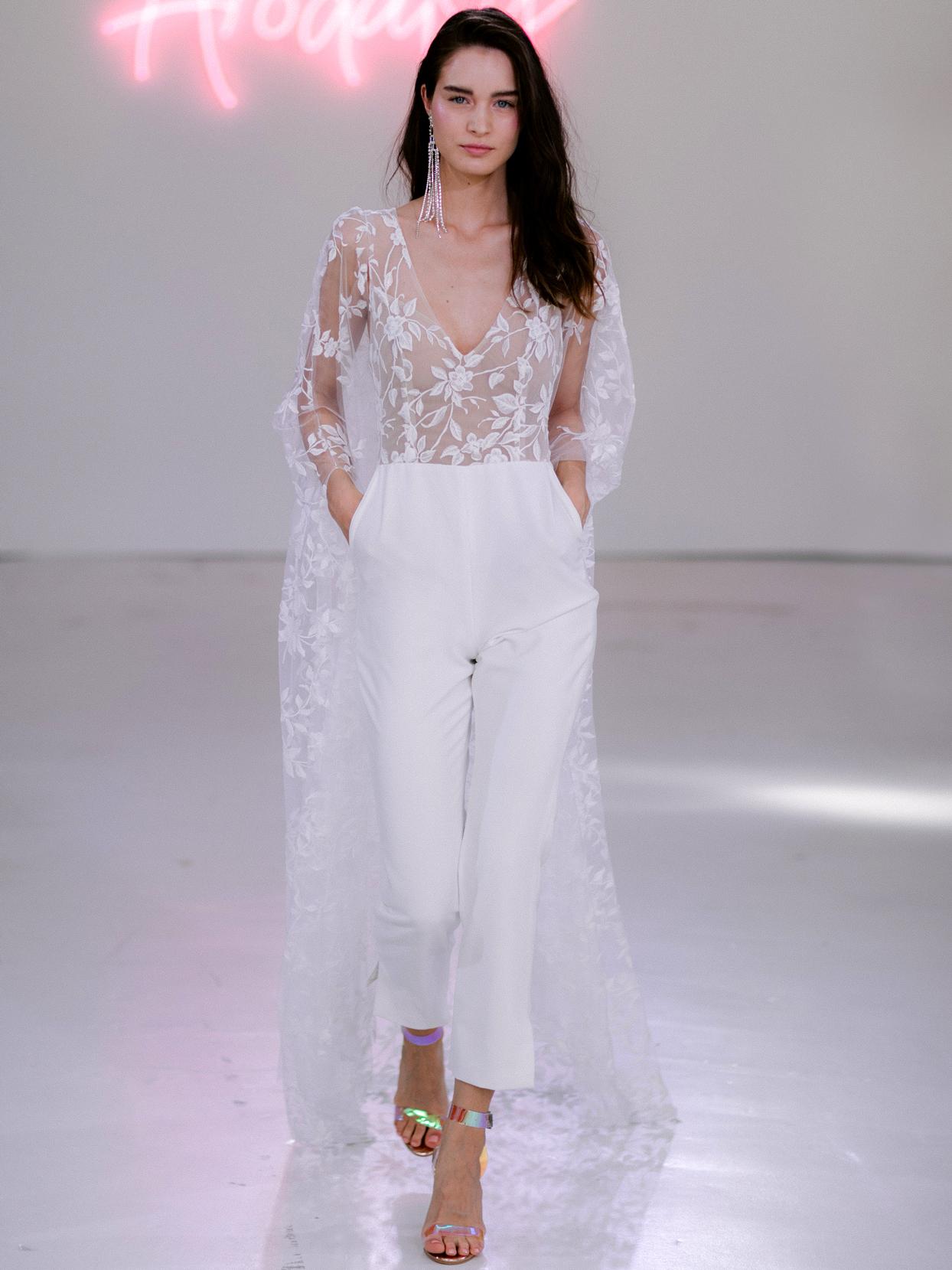 Rime Arodaky X The Mews Bridal sheer top pockets jumpsuit wedding dress fall 2020