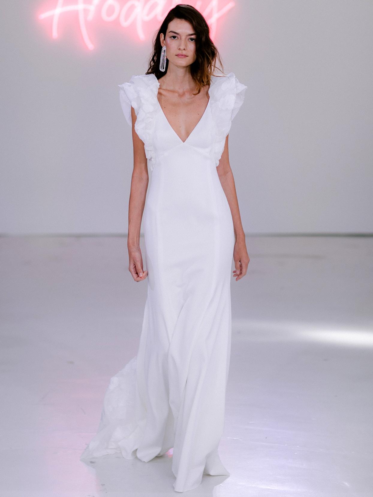 Rime Arodaky X The Mews Bridal deep v-neck short puffed sleeves wedding dress fall 2020