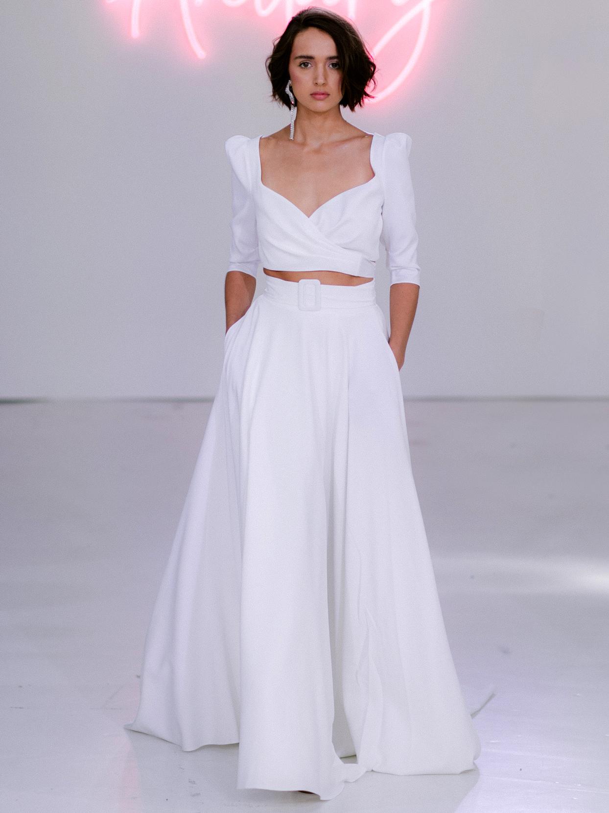 Rime Arodaky X The Mews Bridal two piece belt wedding dress fall 2020