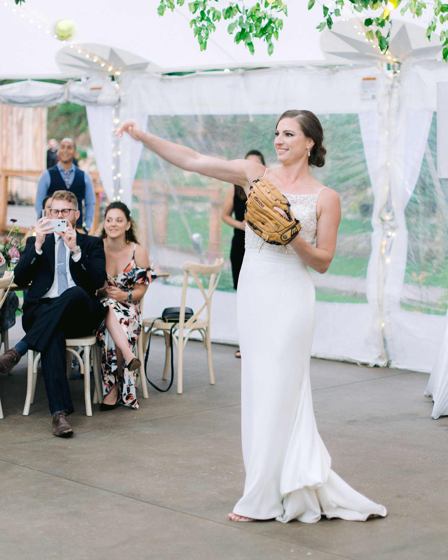 Casey Andrew Wedding Bride Playing Catch with Dad