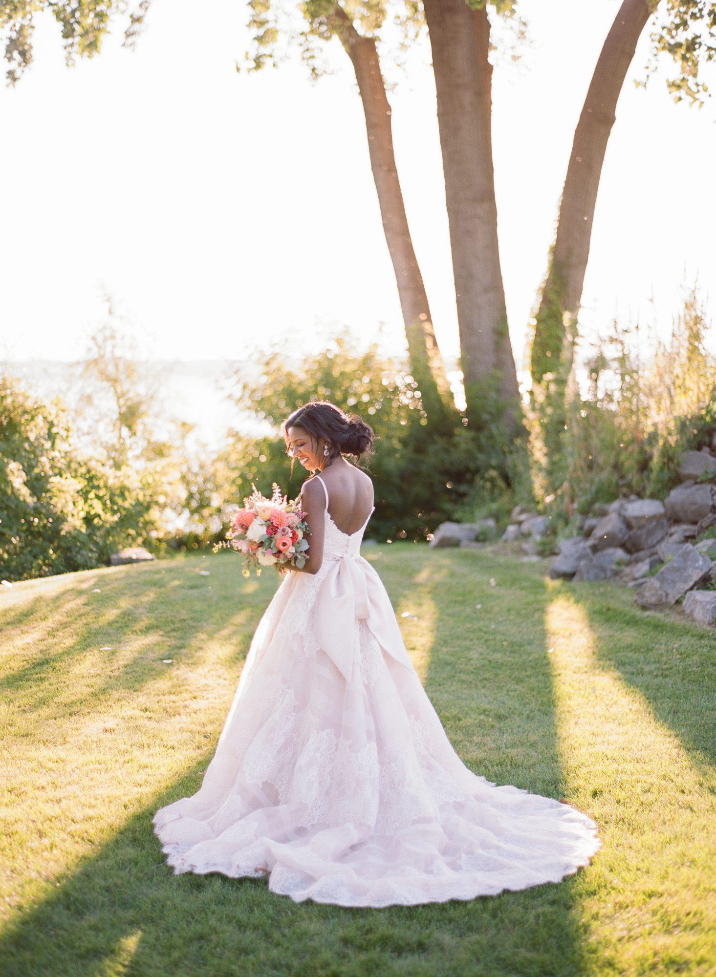 charlene jeremy wedding bride posing with bouquet