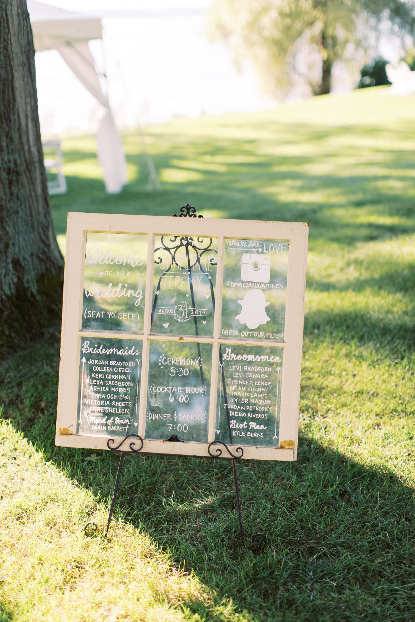 charlene jeremy wedding sign with windowpane design