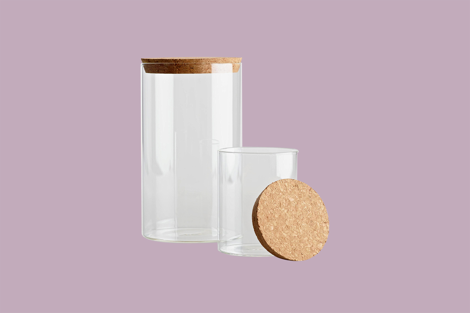 World Market Large and Small Glass Canisters with Cork