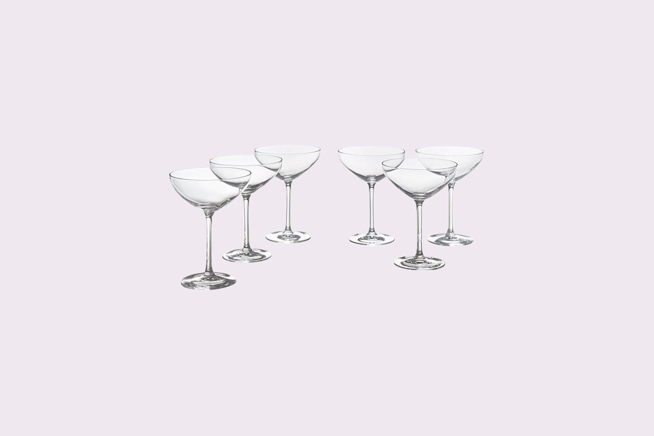 set of six glass coupes