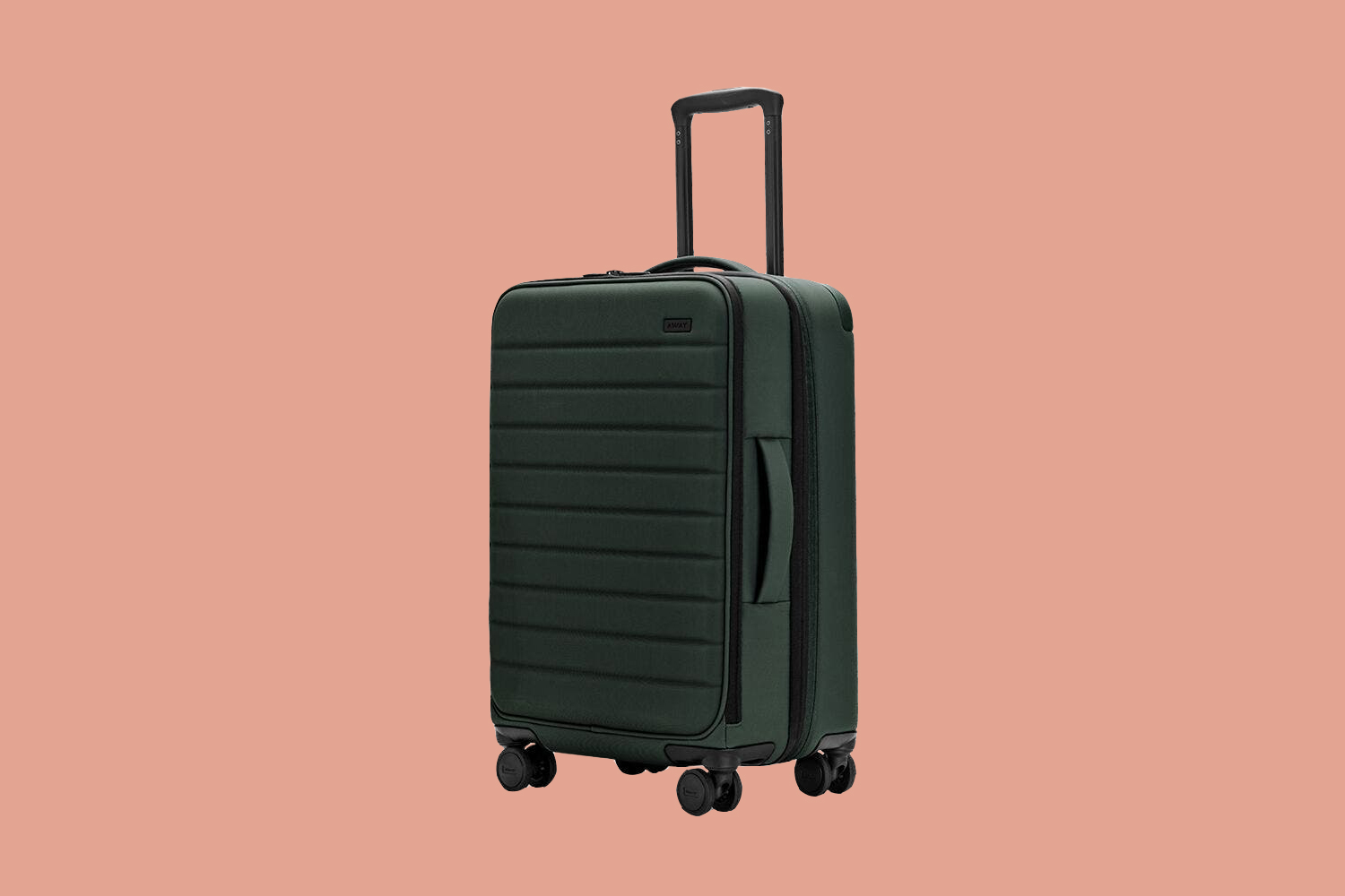 dark green away carry on suitcase