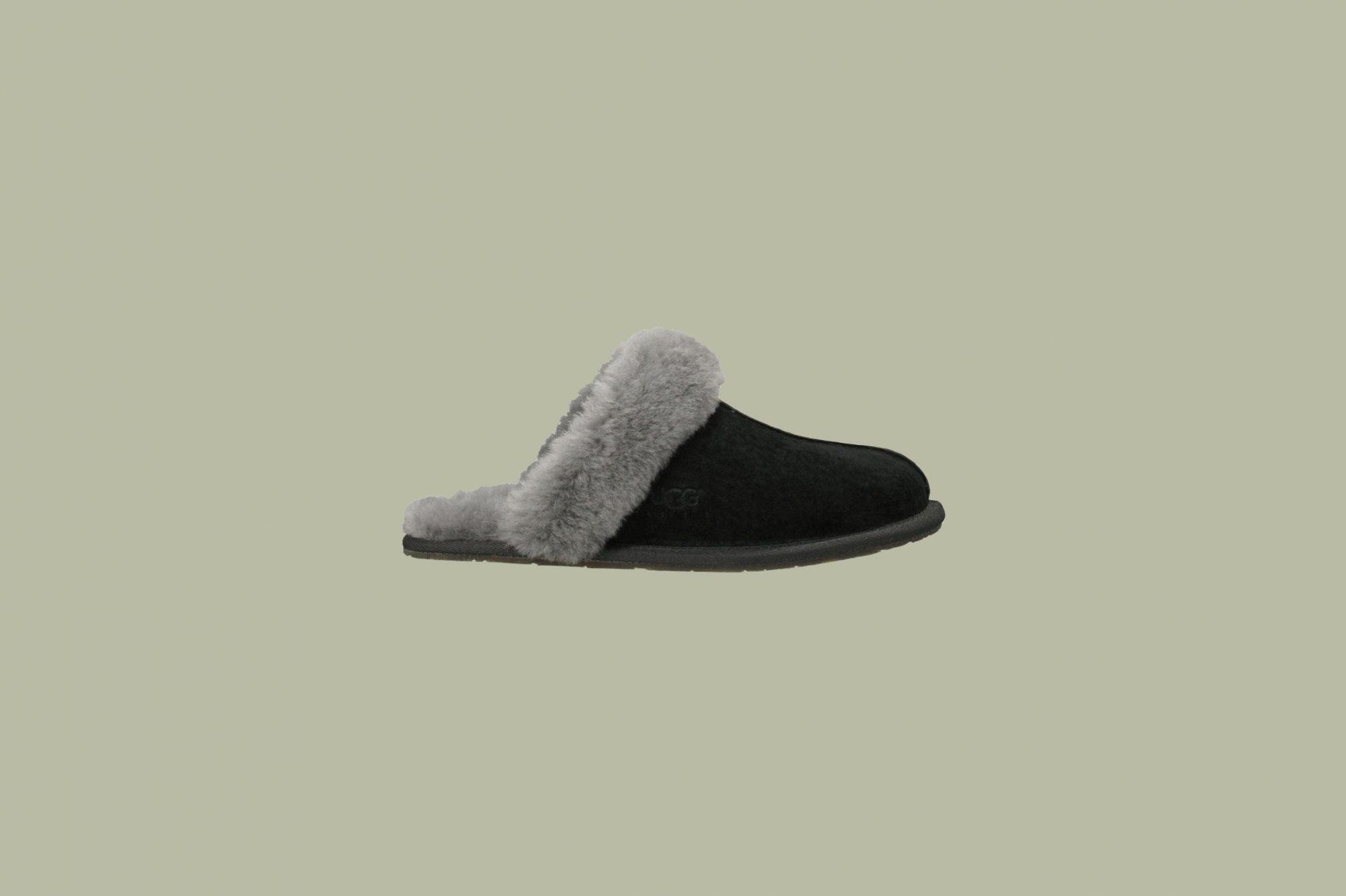 black slide on ugh slippers grey fuzz
