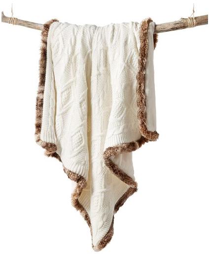 tan throw blanket with brown fuzzy edges