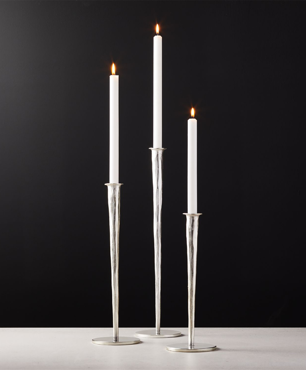 Forged Silver Taper Candle Holders