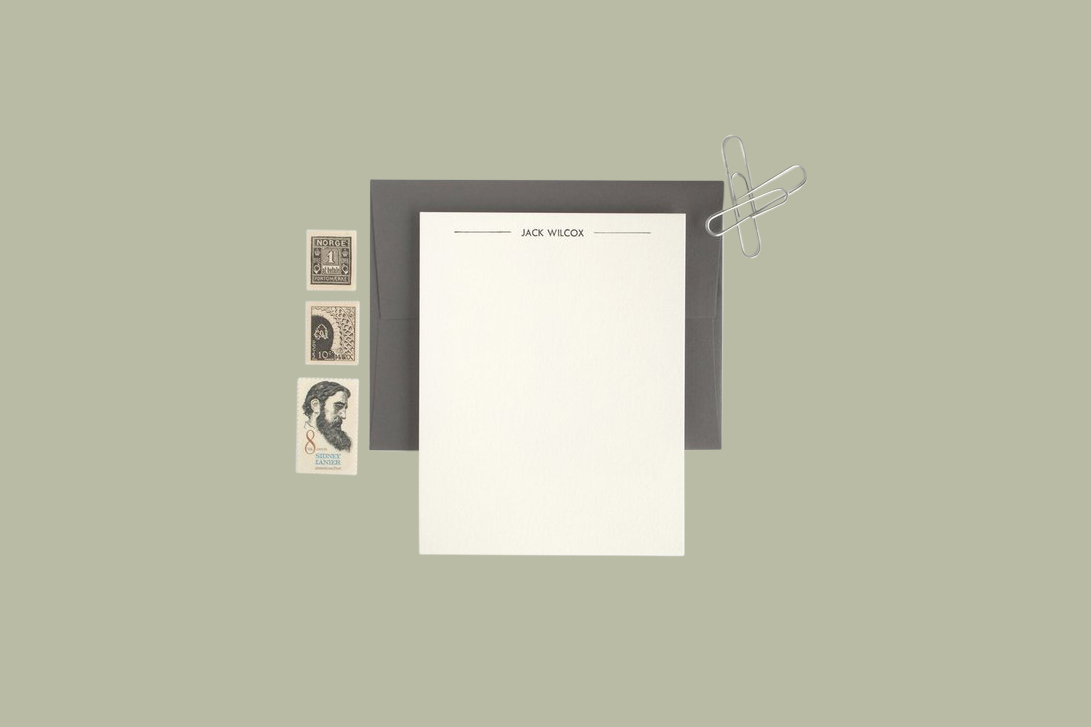 """Seaborn Press """"Bolt Modern"""" Personalized Letterpressed Note Cards"""