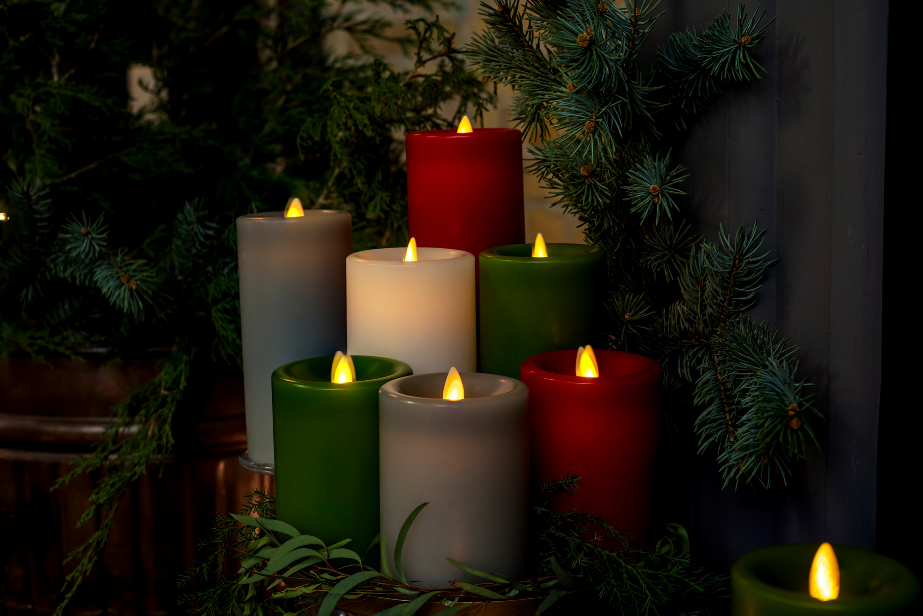 flameless electric holiday colored candles