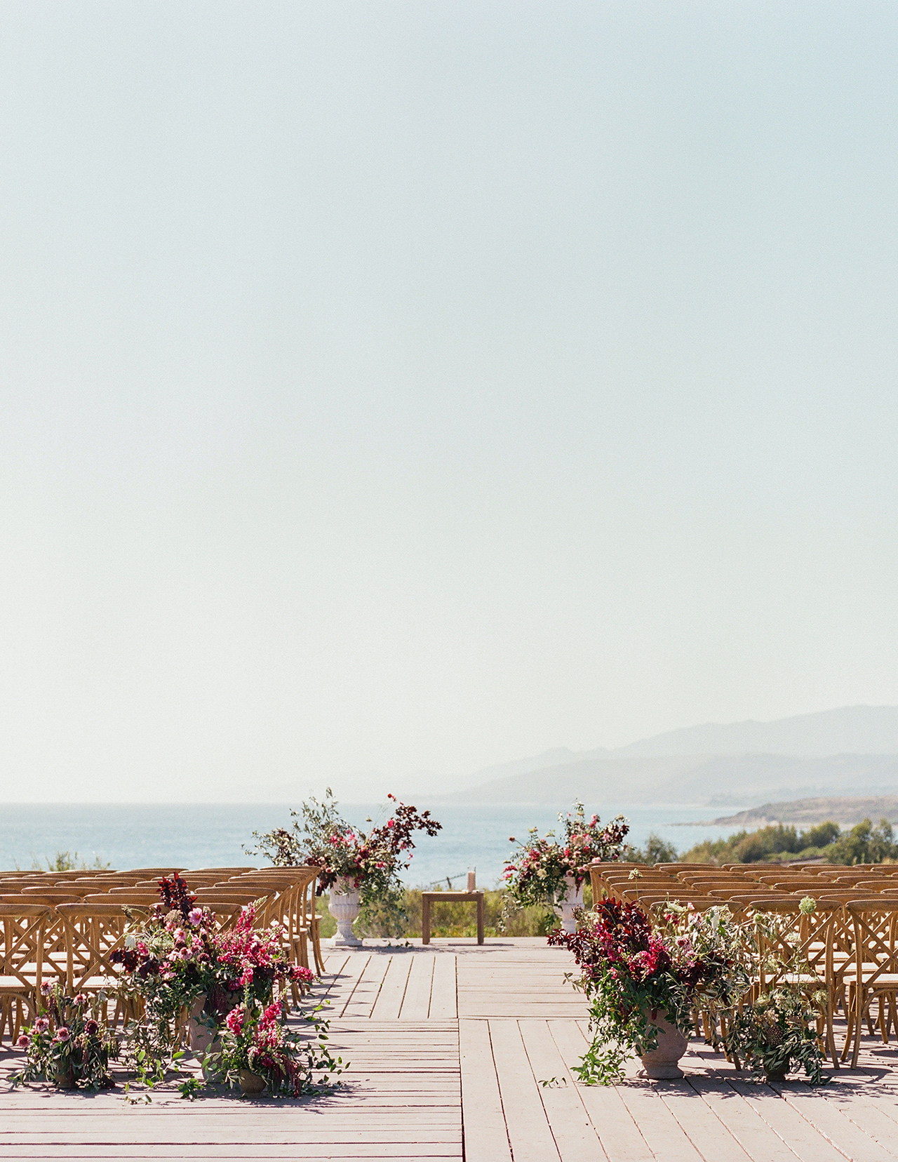 wedding ceremony outdoor ocean mountain view