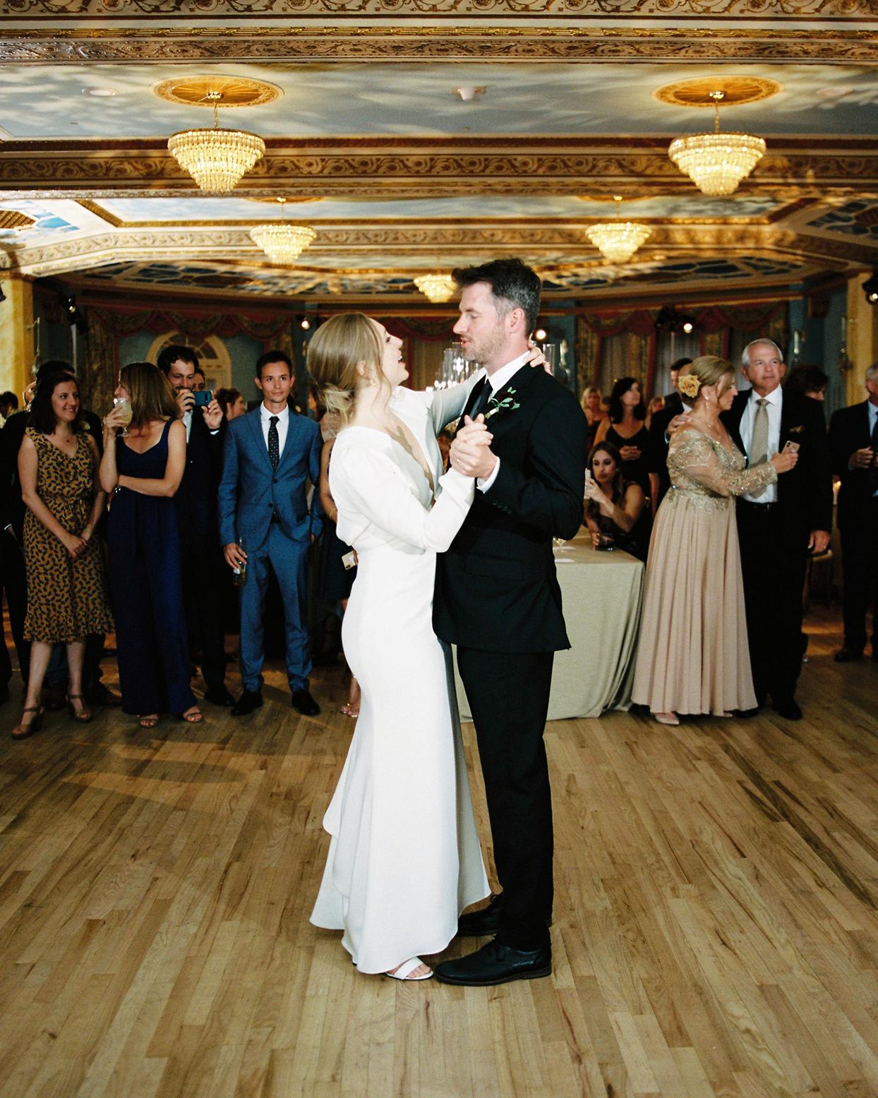 katie nicholas wedding first dance in ballroom