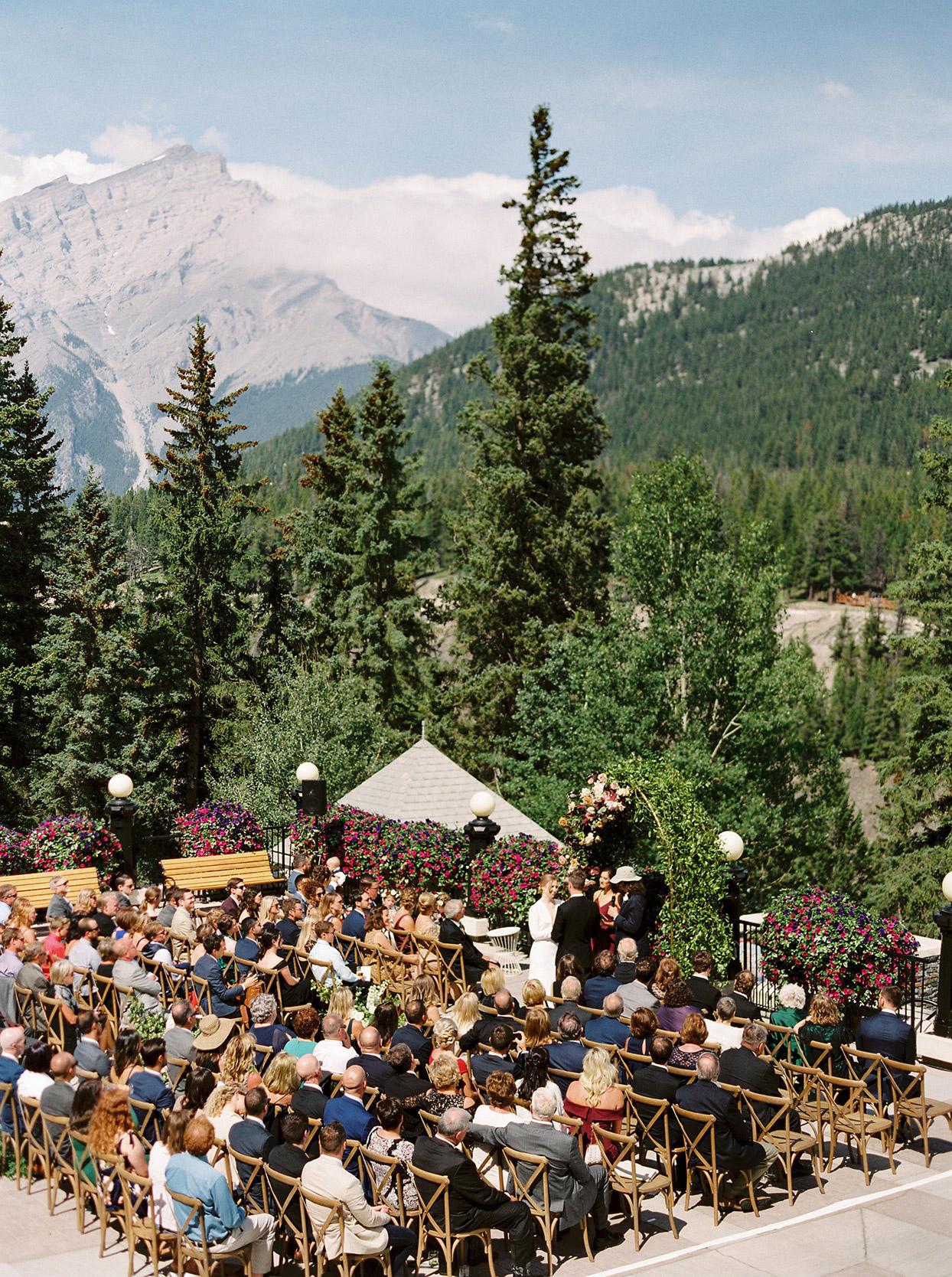 katie nicholas wedding ceremony mountains